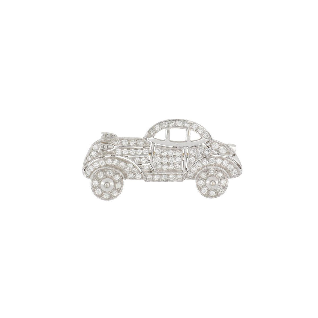Estate 18K White Gold Diamond Car Pin