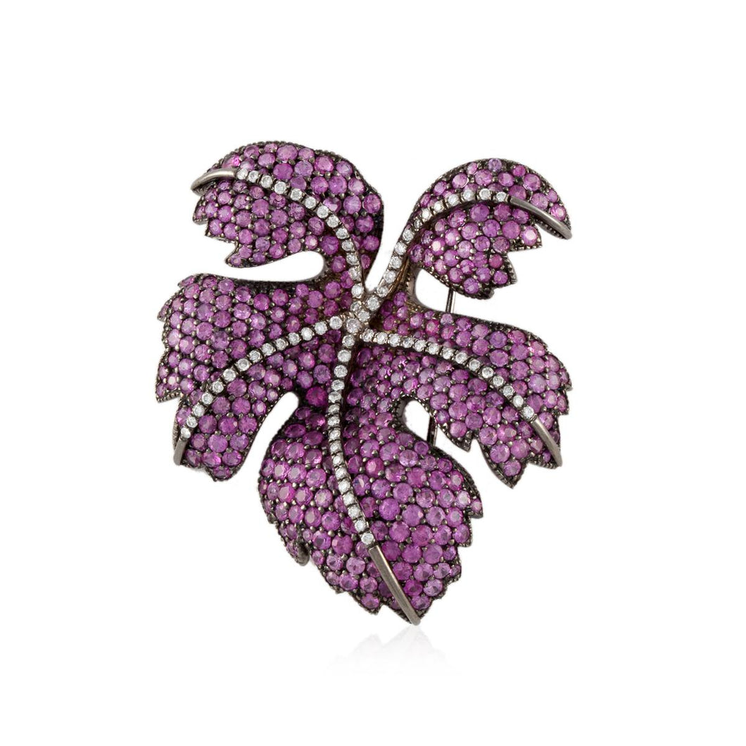 Fred Leighton 18K White Gold Pink Sapphire Leaf Brooch