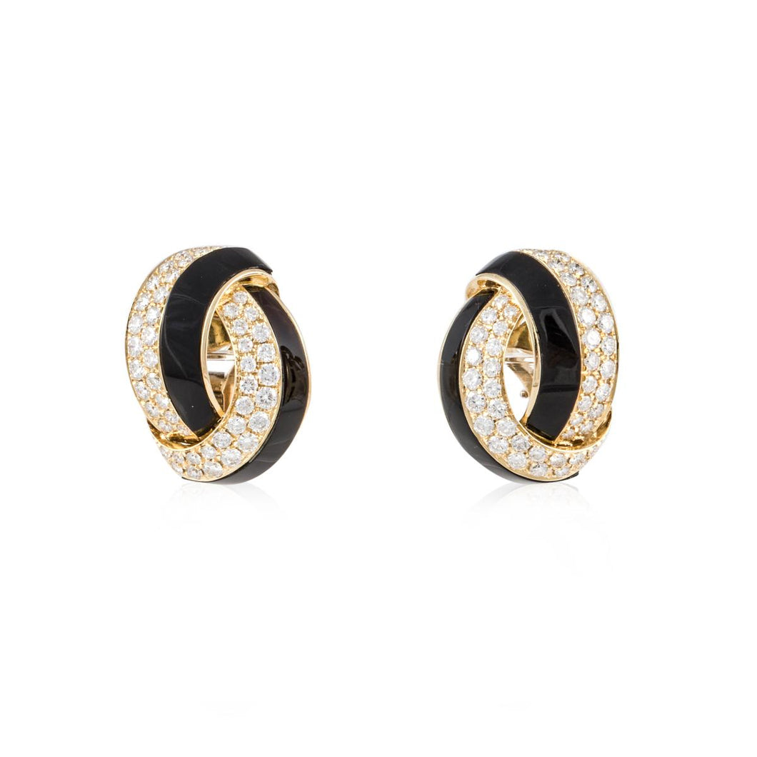 18K Two-Tone Gold Diamond and Onyx Earrings