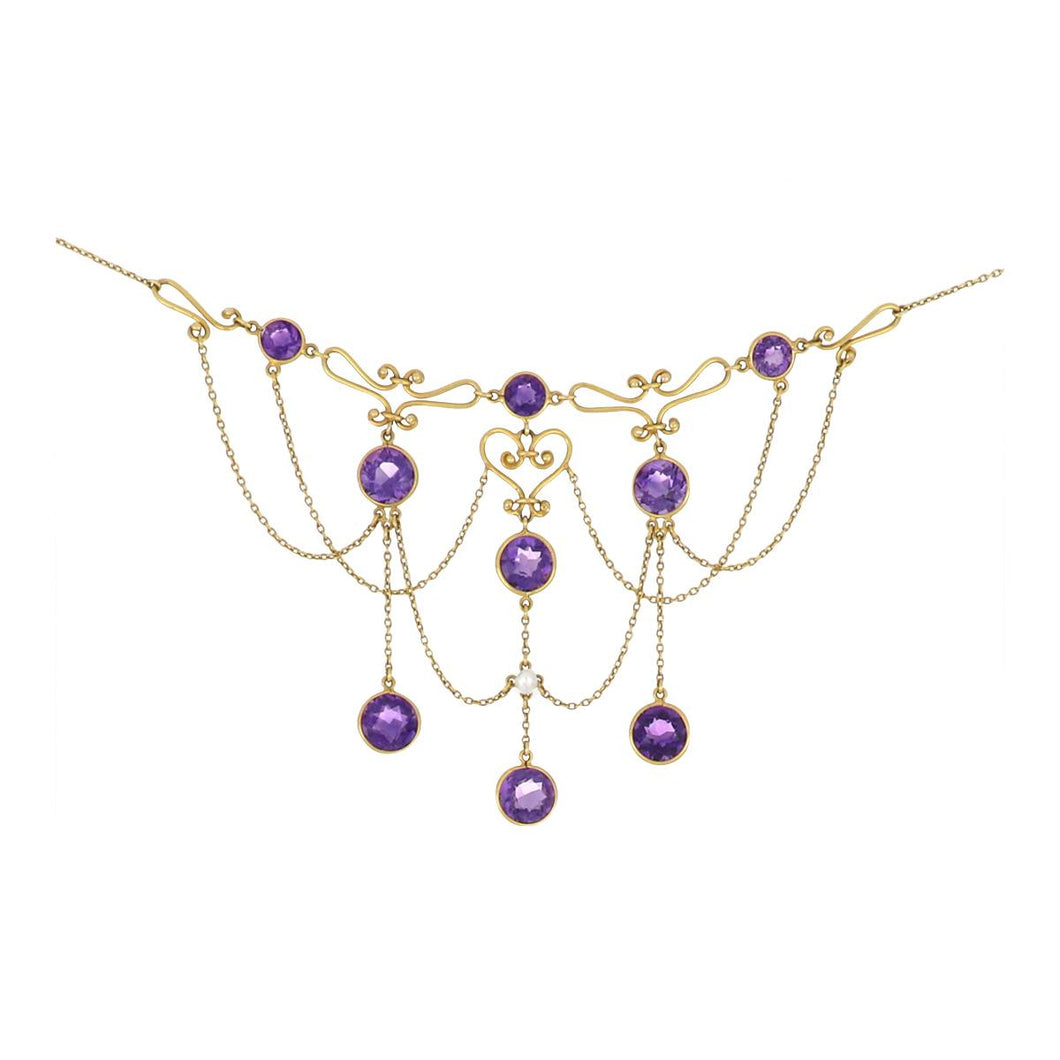 Antique Late Victorian 14K Gold Amethyst and Pearl Festoon Necklace