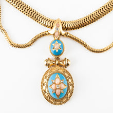Load image into Gallery viewer, Victorian 18K Gold Enamel, Coral and Diamond Necklace