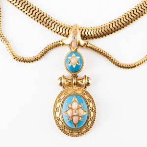 Victorian 18K Gold Enamel, Coral and Diamond Necklace