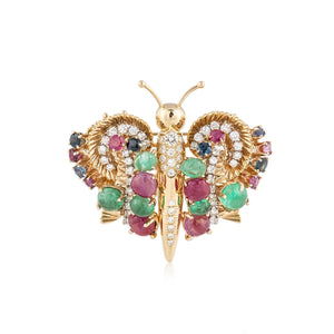 Gemstone Butterfly Brooch/Earrings