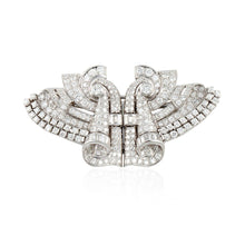 Load image into Gallery viewer, Art Deco Platinum Diamond Brooch/Dress Clips