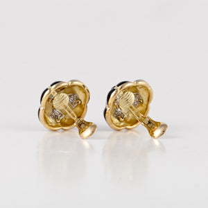 Estate David Webb 18K Gold Black Enamel And Diamond Earrings