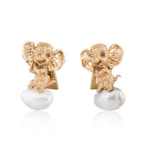 Estate Ruser 14K Gold Elephant Cufflinks