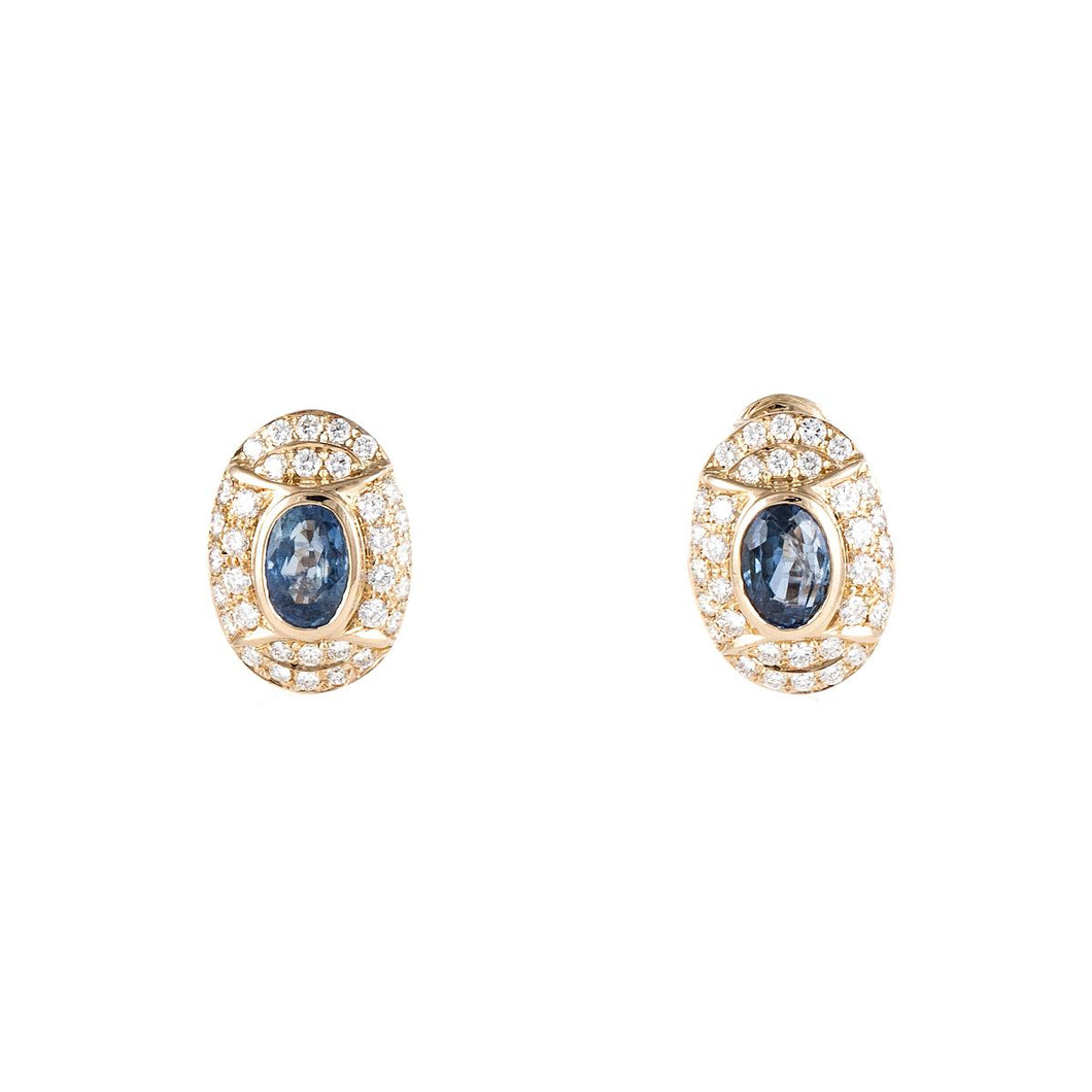Estate 18K Gold Sapphire and Diamond Earrings