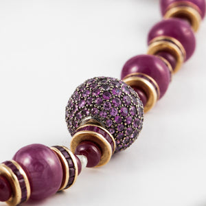 Estate 18K Gold Pink Sapphire and Ruby Bead Necklace