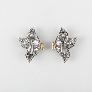 Estate Buccellati 18K White Gold Diamond Leaf Earrings