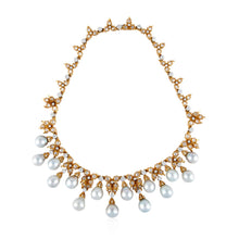 Load image into Gallery viewer, Estate Buccellati 18K Gold Diamond and Cultured Baroque Pearl Necklace