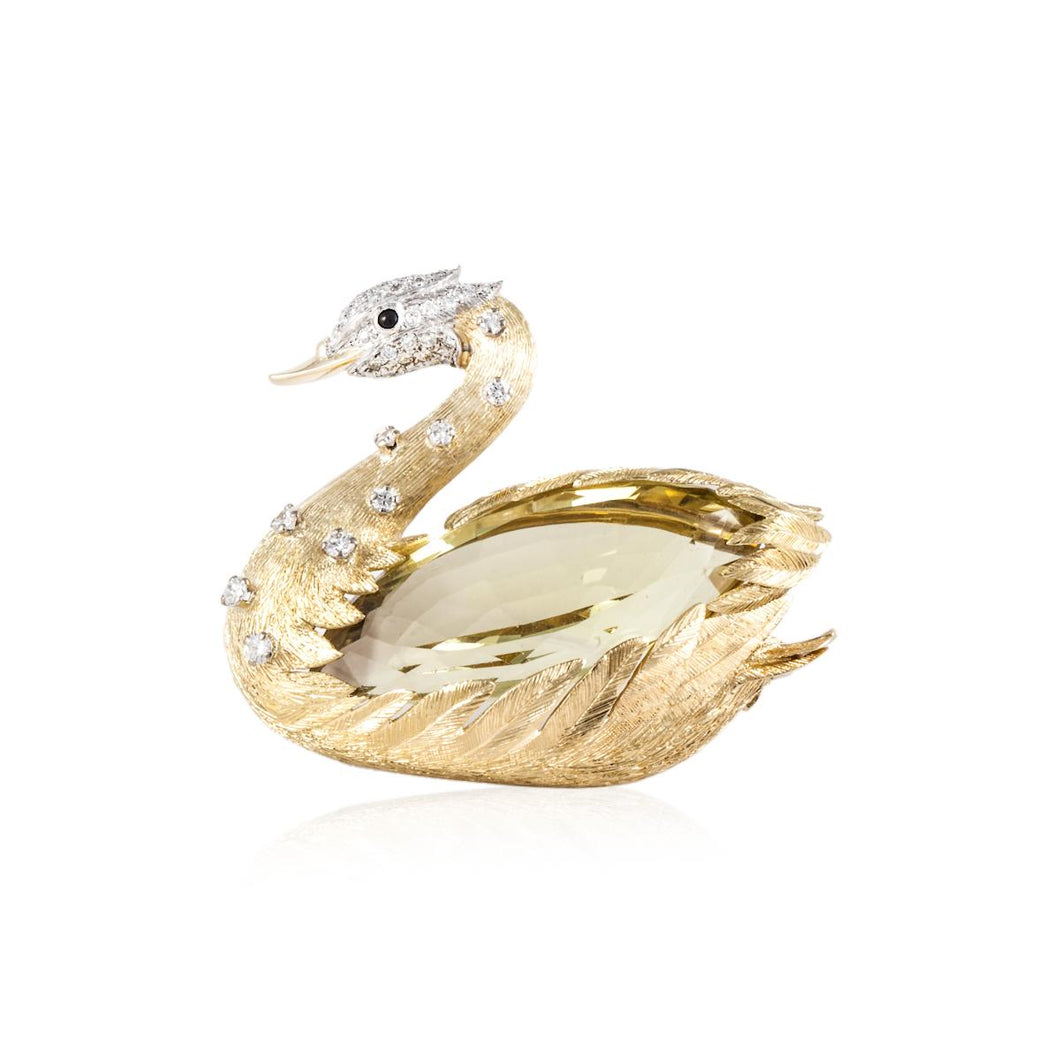 Estate E. Wolfe & Co. 18K Gold Swan Brooch