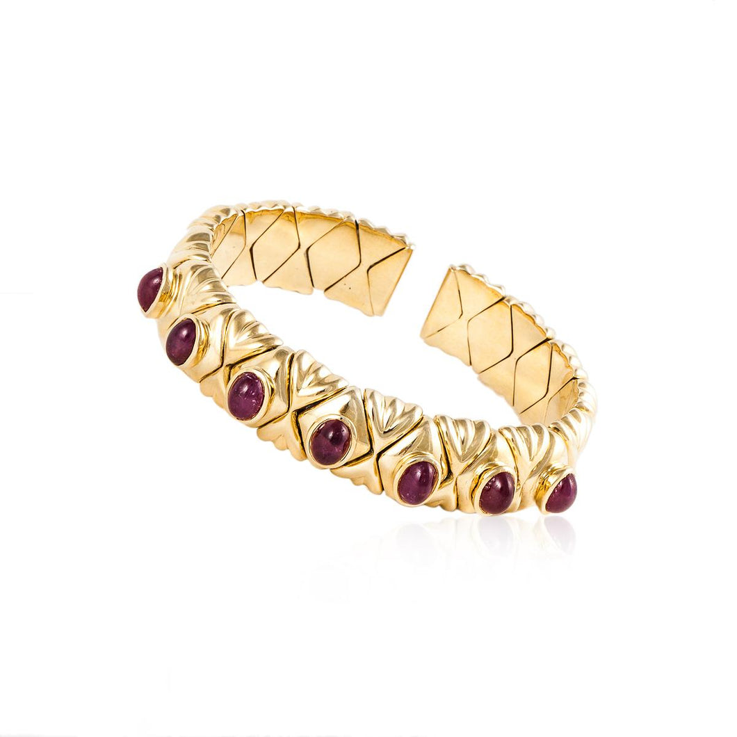 Estate 18K Gold Cabochon Ruby Cuff Bracelet