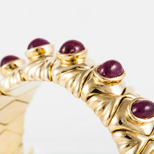 Load image into Gallery viewer, Estate 18K Gold Cabochon Ruby Cuff Bracelet