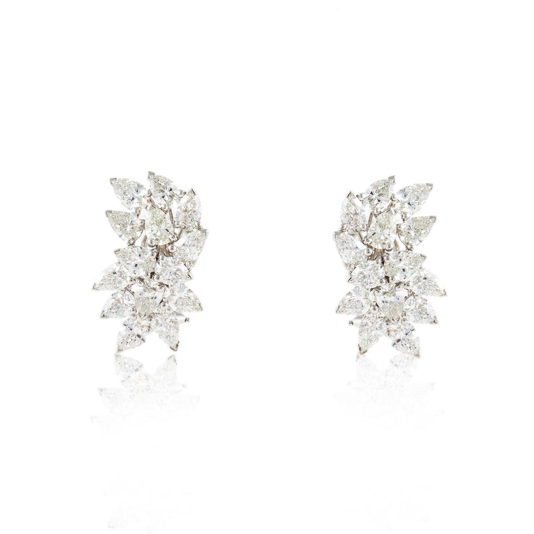 Estate Platinum and 18K Gold Diamond Cluster Earrings