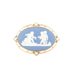 Mid-Century Wedgwood 14K Gold Blue Jasperware Brooch with Pearls