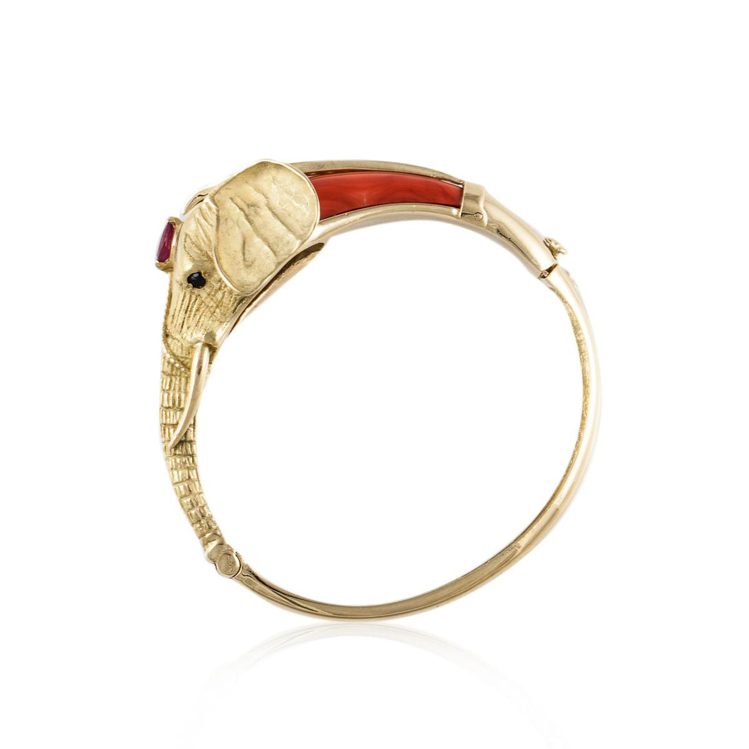 Estate 18K Gold Coral and Diamond Elephant Bracelet