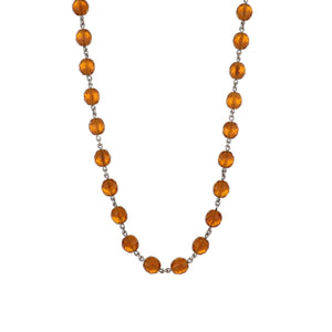 Estate 18K White Gold Faceted Amber Colored Glass Bead Necklace