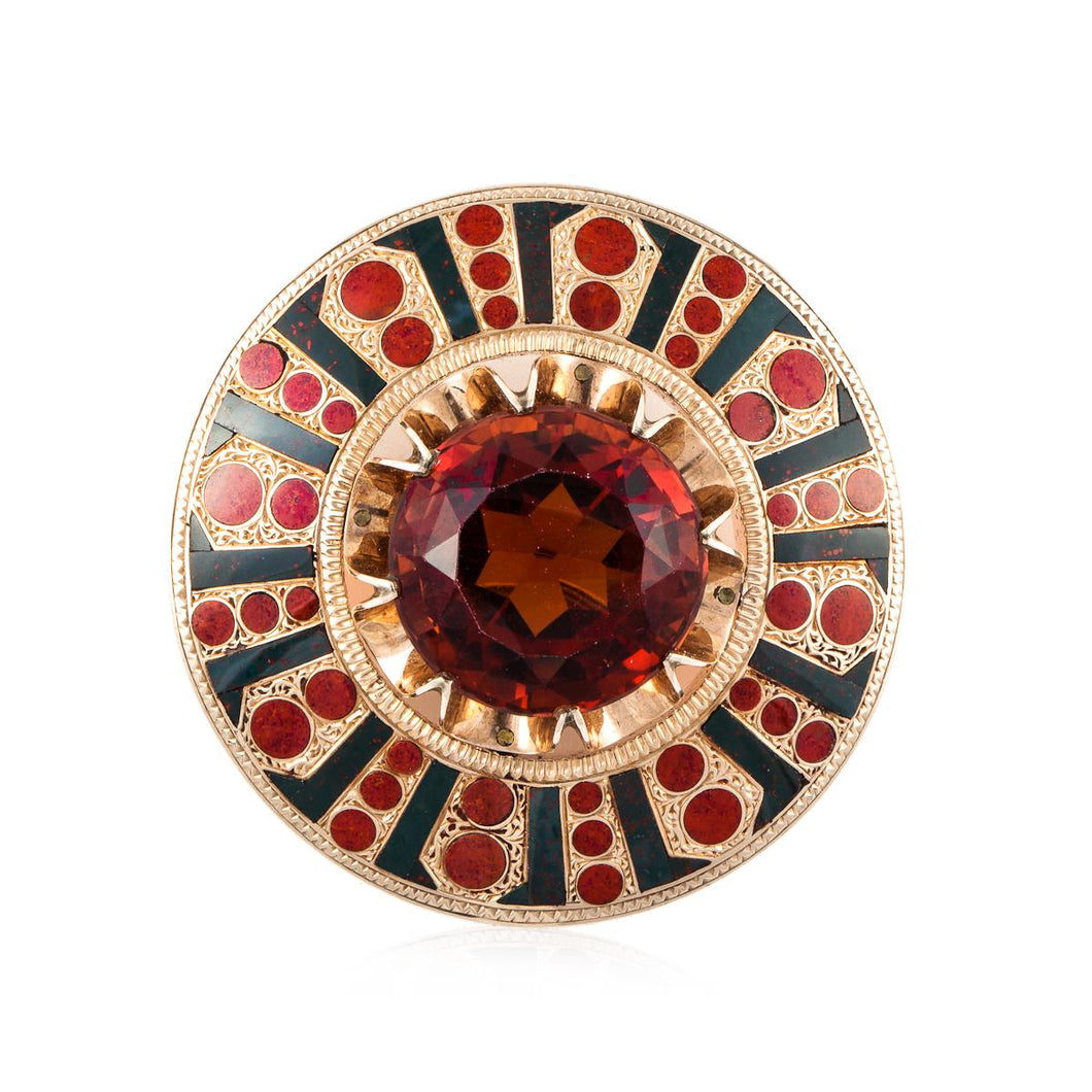 Estate Scottish 18K Gold Citrine Bloodstone and Carnelian Pin