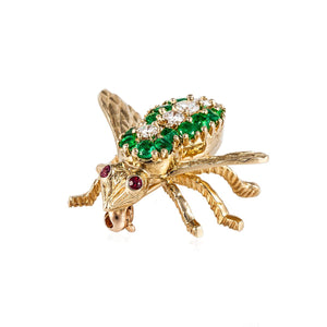 Estate Rosenthal 18K Gold Emerald and Diamond Bee Pin
