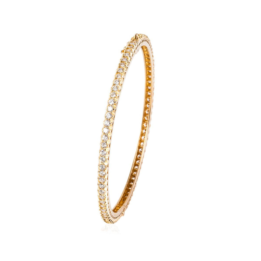 Estate 18k Gold Diamond Bangle Bracelet