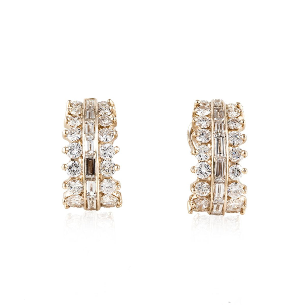 Estate 18K Gold Diamond Hoop Earrings