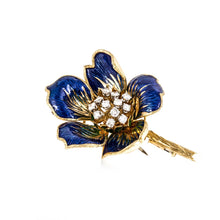 Load image into Gallery viewer, Estate 18K Gold Diamond and Enamel Flower Brooch