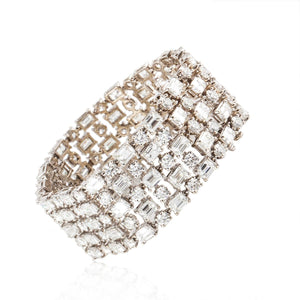 Estate 18K Gold Wide Diamond Bracelet