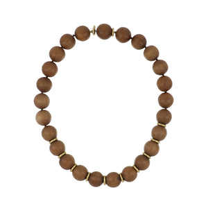 Estate 18K Gold Wood Bead Necklace