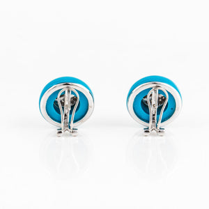 Estate 14K White Gold Turquoise and Diamond Button Earrings