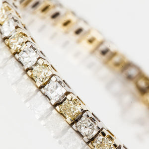 18K Two Tone Gold Yellow and White Diamond Line Bracelet