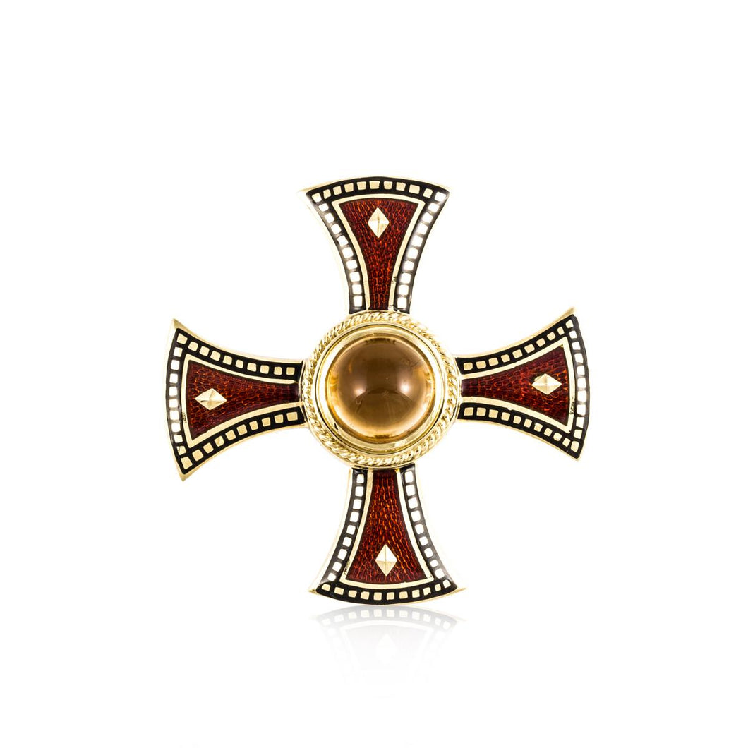18K Gold Enamel Citrine Maltese Cross