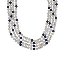 Load image into Gallery viewer, Estate 14K Gold Snow Quartz and Lapis Bead Long Necklace