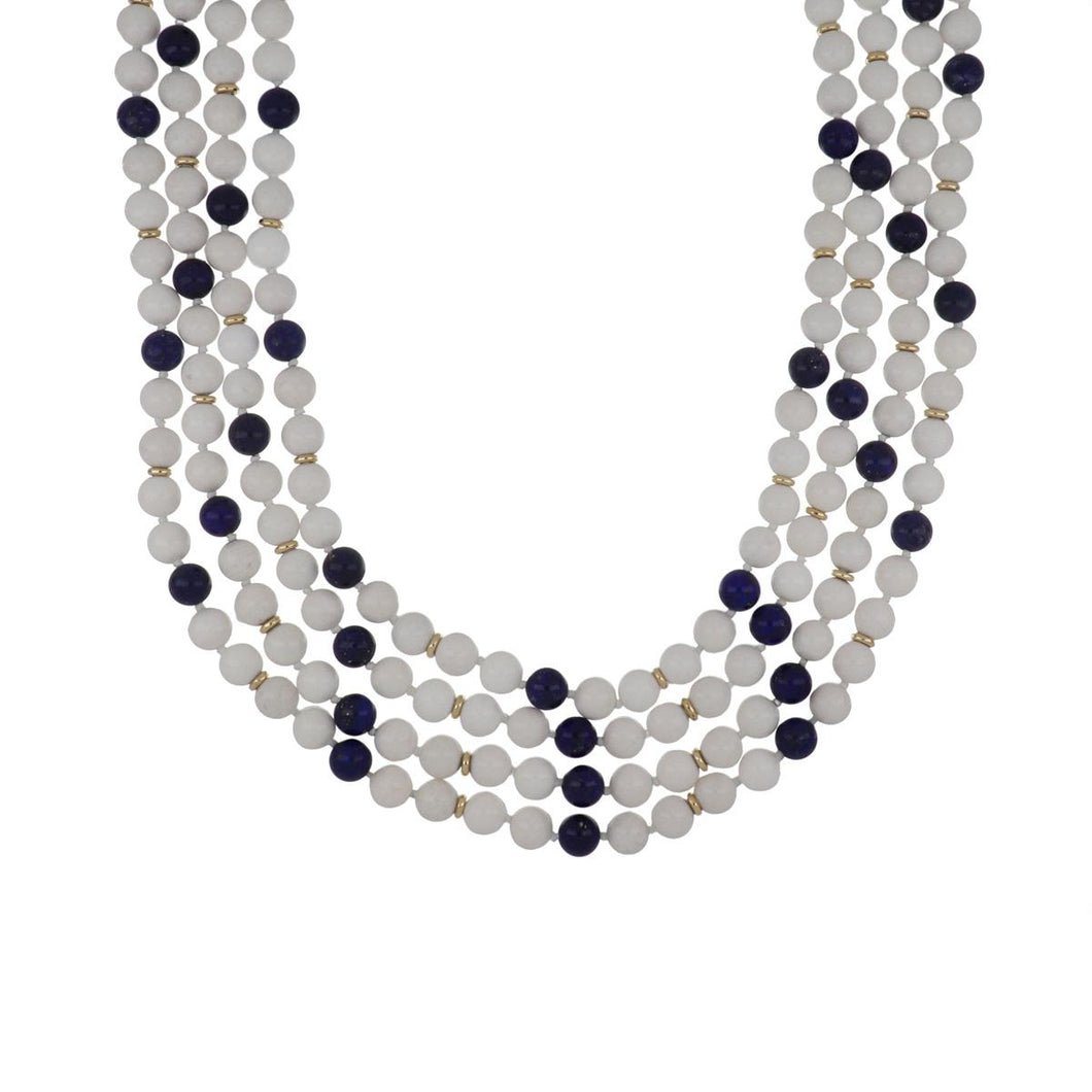 Estate 14K Gold Snow Quartz and Lapis Bead Long Necklace