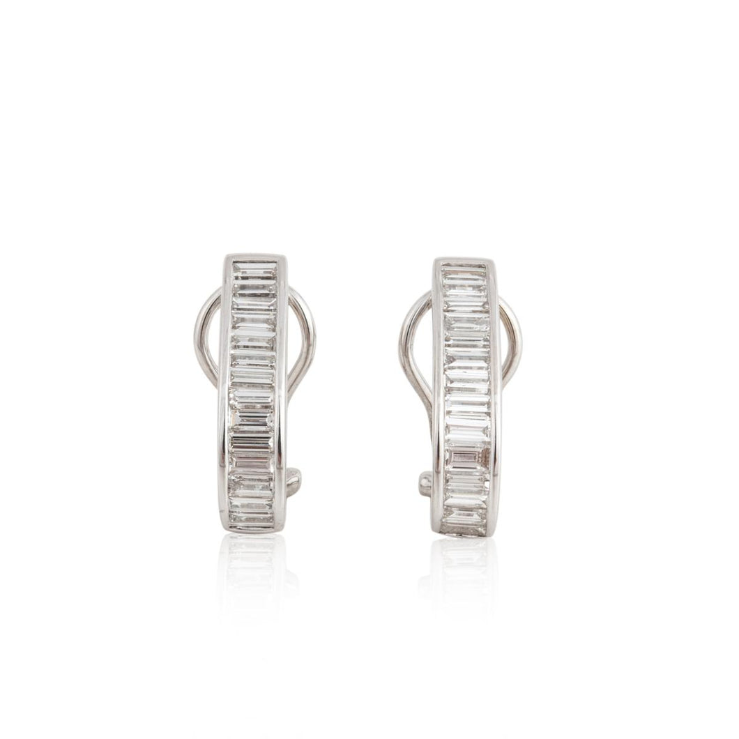 18K White Gold Diamond Loop Earrings