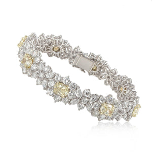 Platinum and 18K Gold Yellow and White Diamond Bracelet