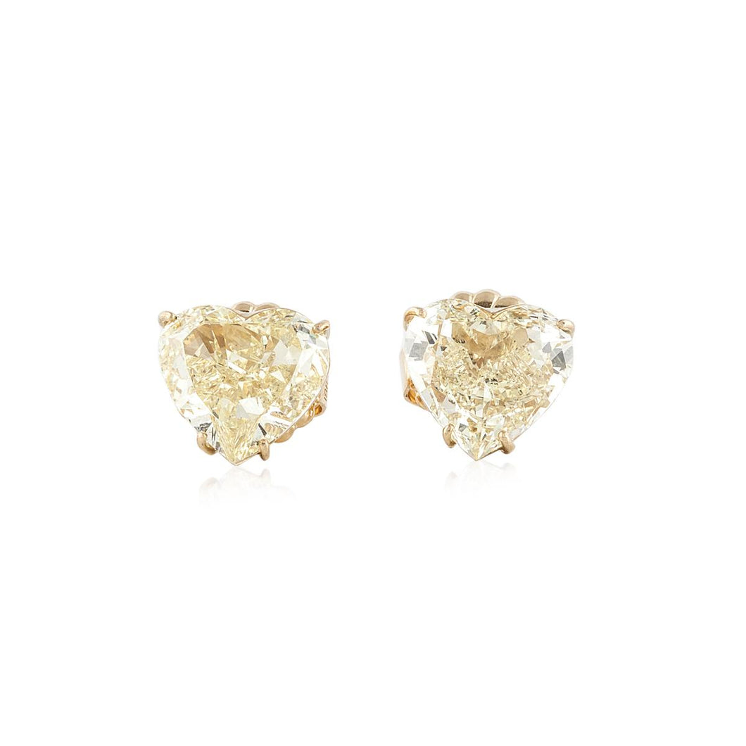18K Gold Yellow Diamond Stud Earrings