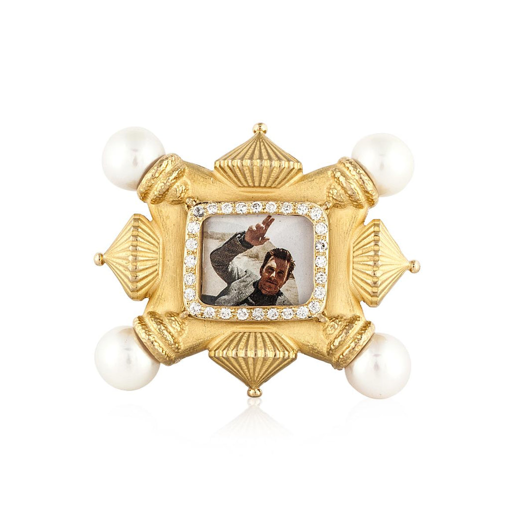 18K Gold Pearl and Diamond Frame