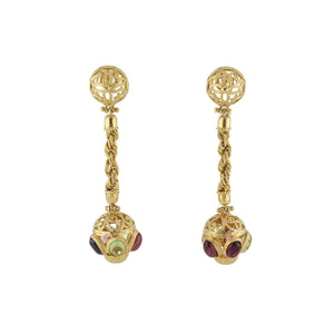 Estate Italian 18K Gold Cabochon Peridot and Amethyst Drop Earrings