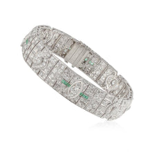 Load image into Gallery viewer, Art Deco Platinum Diamond and Emerald Bracelet