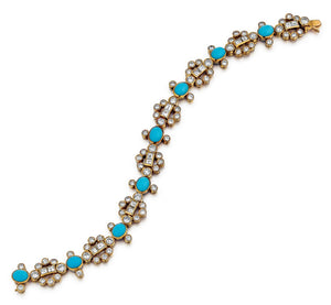 Adler 18K Gold Turquoise and Diamond Bracelet