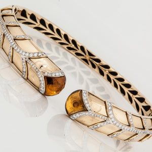 18k French Citrine and Diamond Collar