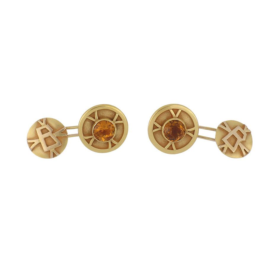 Estate 14K Gold Bezel-Set Citrine Cufflinks