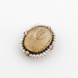 French Carved Citrine Cameo Pin with Diamonds and Pearls