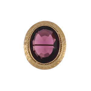 Victorian 14K Gold Oval Amethyst Pin