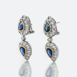 Estate Buccellati 18K White Gold Sapphire and Diamond Earrings