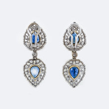 Load image into Gallery viewer, Estate Buccellati 18K White Gold Sapphire and Diamond Earrings