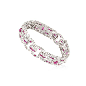Art Deco Platinum Diamond and Ruby Bracelet