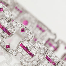Load image into Gallery viewer, Art Deco Platinum Diamond and Ruby Bracelet