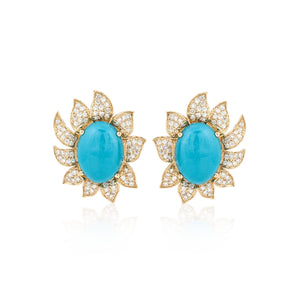 18K Gold Turquoise and Diamond Flower Earrings
