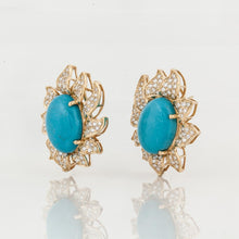 Load image into Gallery viewer, 18K Gold Turquoise and Diamond Flower Earrings